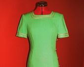 1980's Jessica Howard by Mitchell Rodbell Green Nautical Dress - Petite Stars