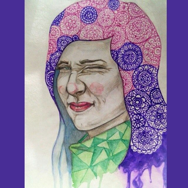 Портрет, акварель, узор, цвет