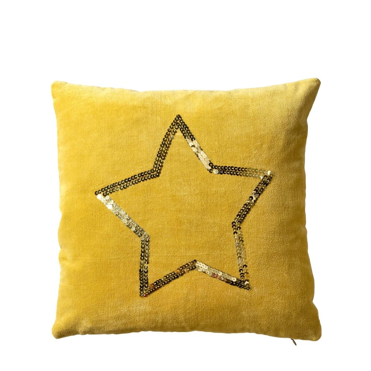 yellow velvet cushion with golden sequin star from bloomingville for my. Black Bedroom Furniture Sets. Home Design Ideas