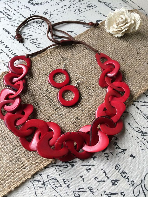 Red Tagua necklace. Interlocking necklace. Handmade statement necklace and earrings set.