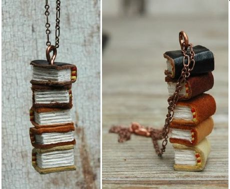 tiny book necklace from recycled materials  by Ross Dulmaine  http://www.alternativeconsumer.com/2011/07/30/tiny-book-necklace-from-recycled-materials/