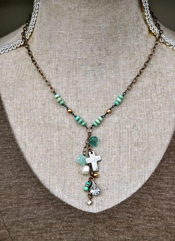 Elizabeth. boho glass beaded lariat charm by tiedupmemories, $45.00