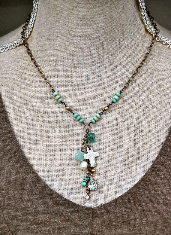 Elizabeth.  boho glass beaded lariat charm by tiedupmemories, $45.00