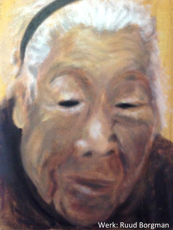 Elk gezicht, elk persoon, komt ergens vandaan. Een andere afkomst en een andere geschiedenis. Deze aziatische mevrouw heeft haar eigen verhaal. Dit schilderij is geschilderd op een gesponnen zeildoek.