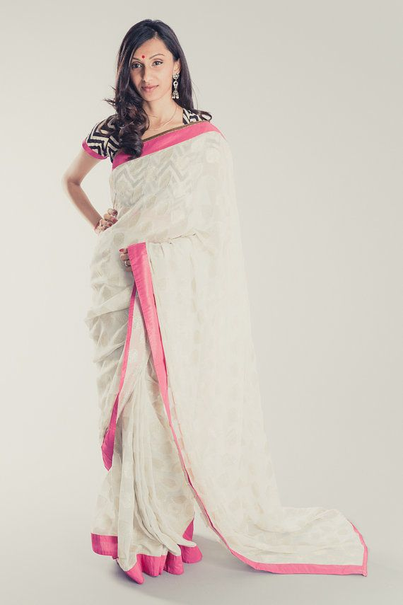 Silver Leaf with Hot Pink Saree by LotusXXII on Etsy, $165.00. Use coupon code ARU22 to receive 15% off.