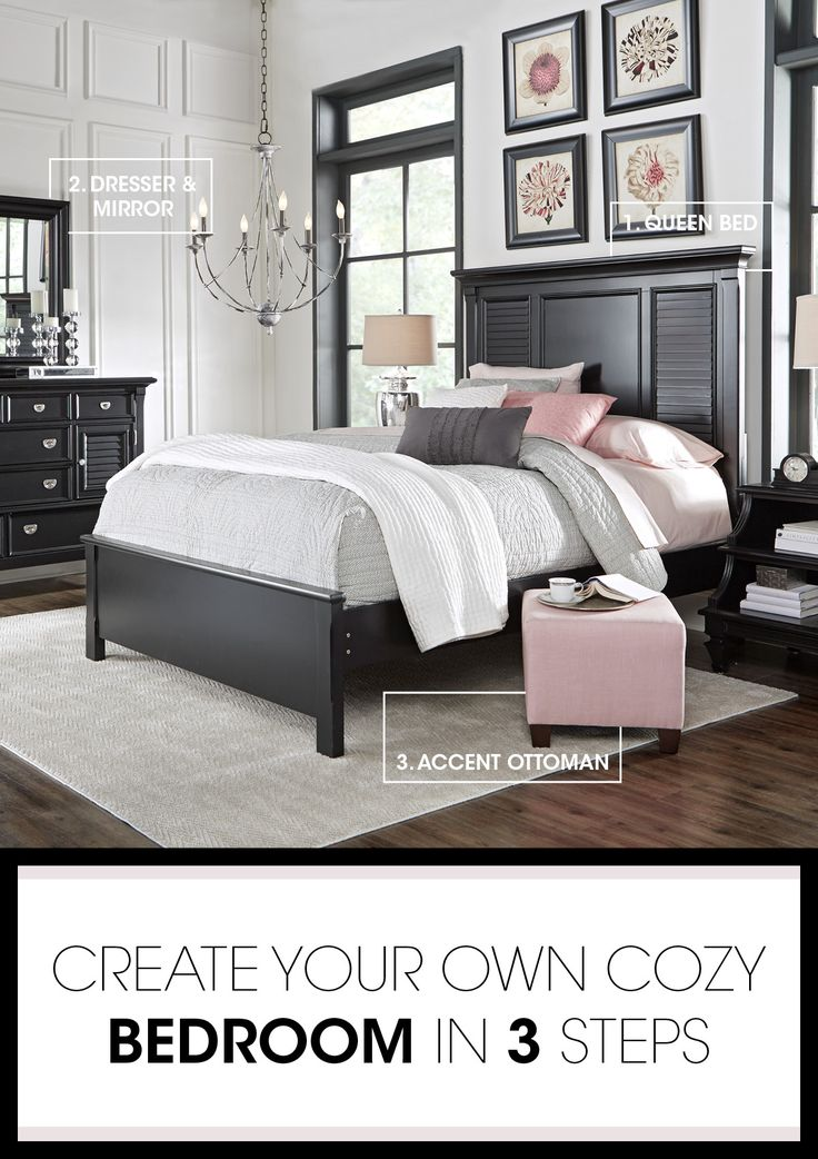 Discover the key pieces of a beautiful bedroom with our Belmar room break down. The bed's hardwood solids and veneers shuttered panels give off an cottage feel. A sleek black dresser adds storage. Finish with a pop of pink with an upholstered ottoman, and you have a bedroom that's relaxing and beautiful. Shop now!