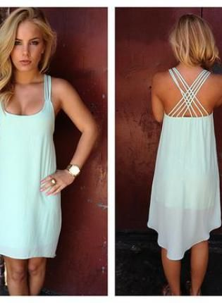 Light Mint Sleeveless Asymmetric Dress