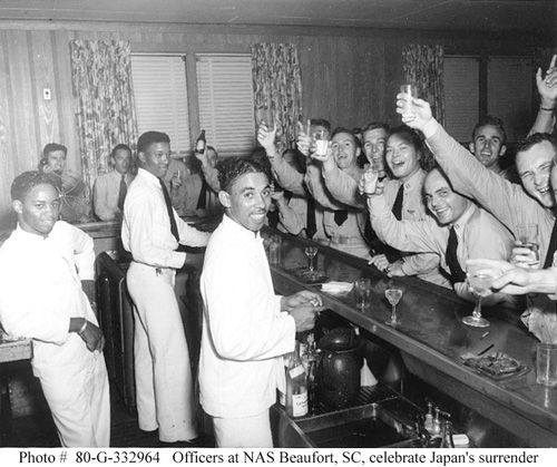 Pilots at the Naval Air Station in Beaufort, South Carolina, toast