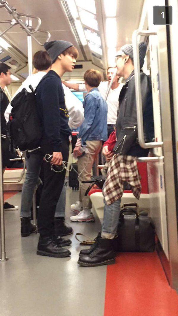 I wanna meet Jimin and Yoongi and [i think jungkook at the back] at a subway ㅠ.ㅠ