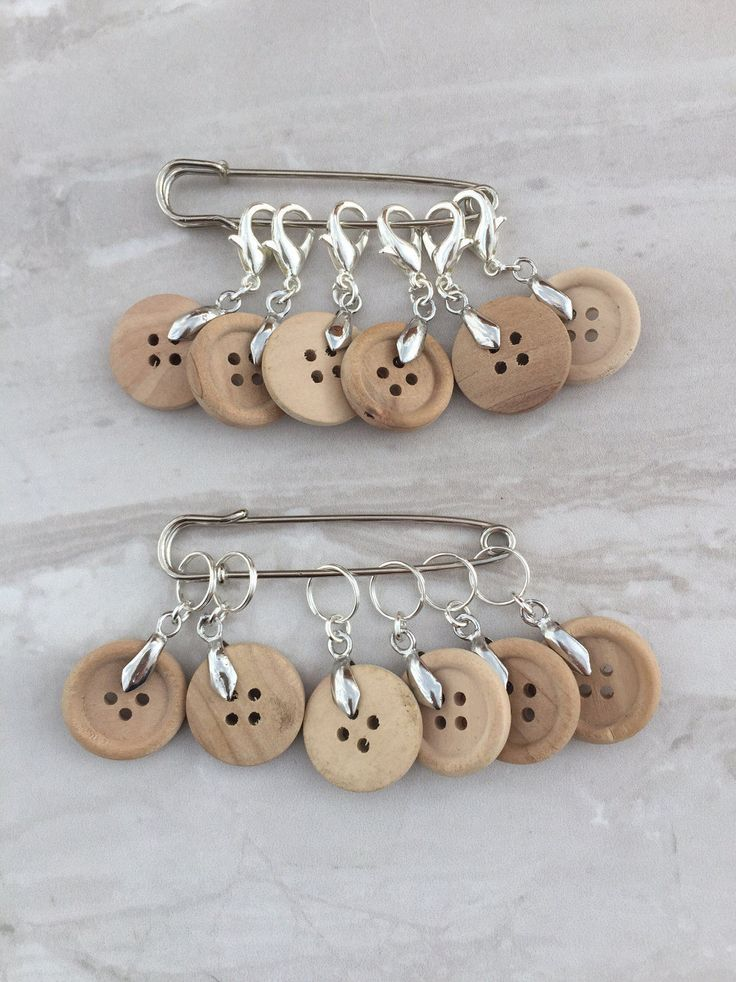 Wooden Button Stitch Markers, stitch markers, knitting supplies, gift for knitter, snag free, craft supplies, crochet markers by DianaSianCrafts on Etsy