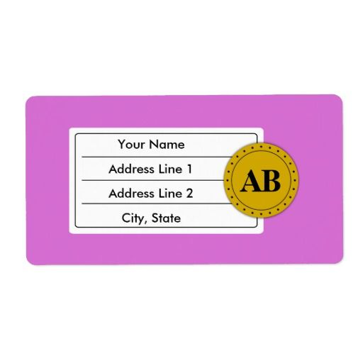 Orchid purple solid color with monogram personalized shipping labels