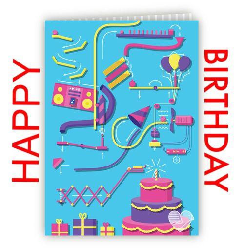 Rube Goldberg birthday greetings