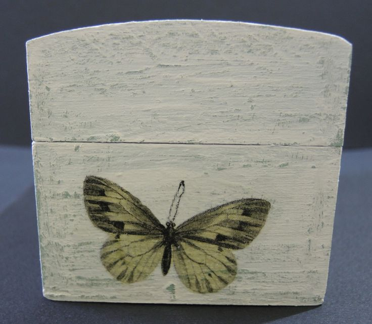 decoupage decorated wooden box, five o'clock tea, with butterflies