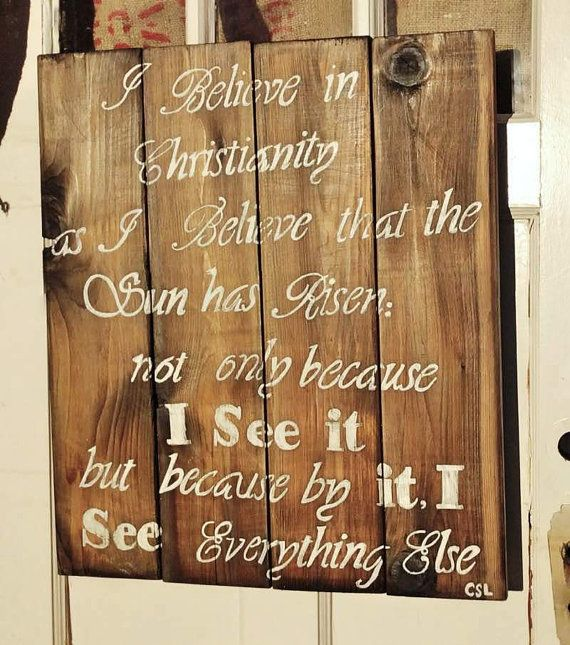 CJ Lewis quote Christianity. Rustic cedar wood sign by dsignden