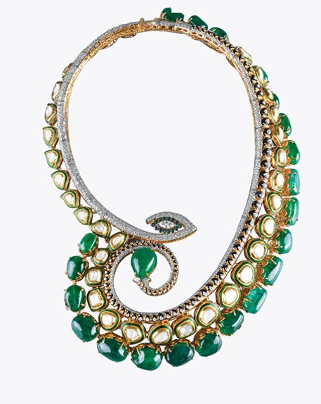 amazing polki meena and gem necklace