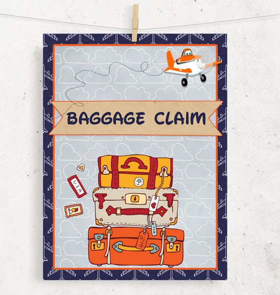Planes Baggage Claim Sign for birthday gift area -- Instant Download / Printable file