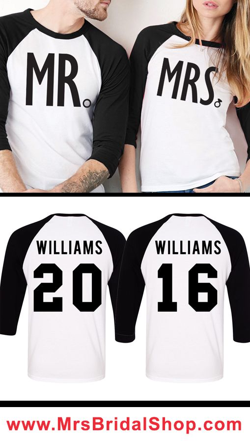 Mr Mrs Baseball Tees Custom Names Numbers Pick Color