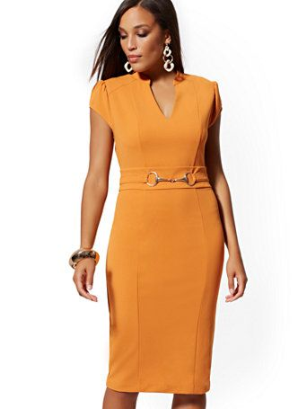 f10f5cf4 Shop Horsebit-Accent Sheath Dress - Magic Crepe - 7th Avenue. Find your  perfect size online at the best price at New York & Company.