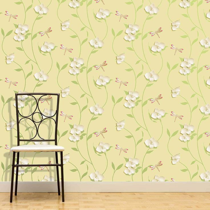 Crown Origami Orchid Wallpaper - Yellow - http://godecorating.co.uk/crown-origami-orchid-wallpaper-yellow/