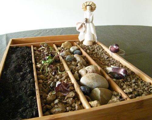 Parable of the sower model. This is cool, very tactile! A great thing would be to let the kids help put it together and then tell the story.
