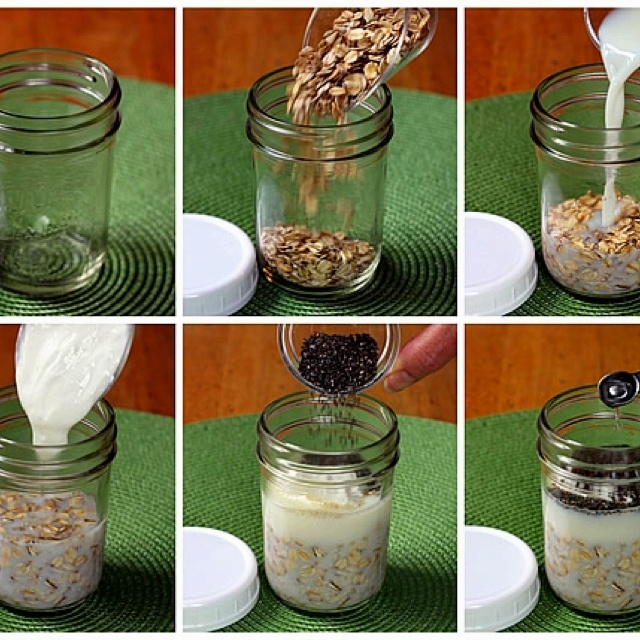 Old fashioned rolled oats (not instant, quick, or steel-cut), Greek yogurt and Milk. Shake then add Fruit! Leave refrigerated up to 4 days!