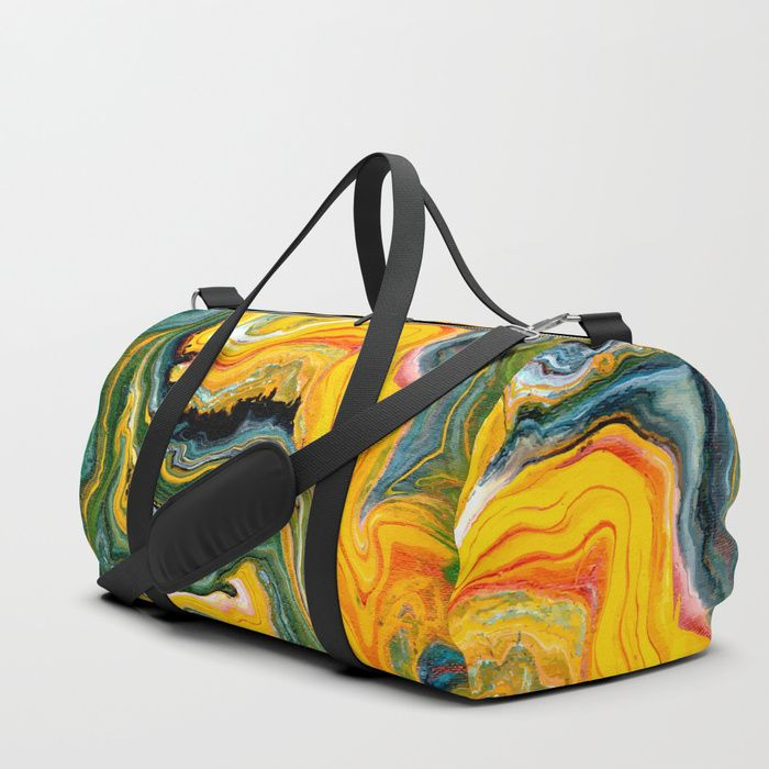 Painted Origin duffle bag by Fimbis ________________________________ abstract art, art, bags, gym bag, fashion, green, orange, paint, painting, style, luggage, travel, adventure, yellow, baggage, fluid art, marbling,  _________________________________ We upped the Duffle Bag game. Your new favorite gym and travel bags feature crisp printed designs on durable poly poplin canvas. Premium details include soft polyester lining with interior zip pocket,