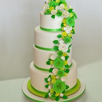 Green Rose Cascade - Wedding Cake