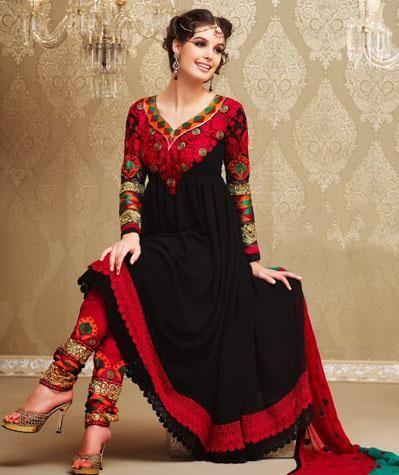 $100.21 Black Embroidered Designer Anarkali Salwar Kameez 24986