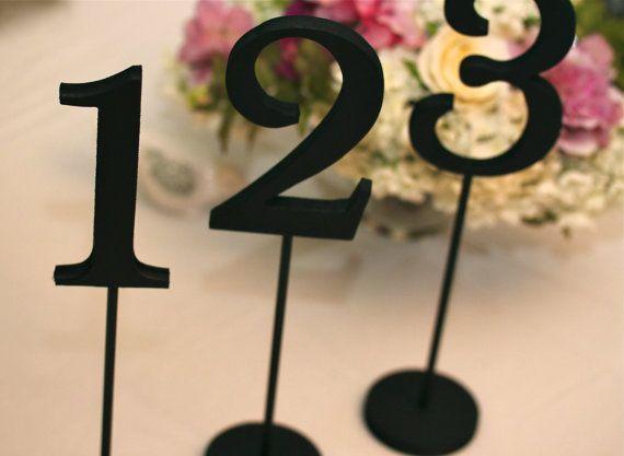 Table Numbers on Sticks for Weddings - Black Tie Wedding Decor