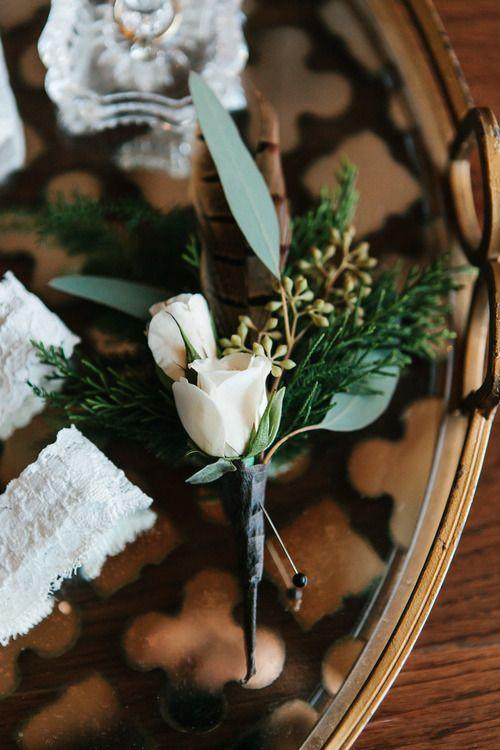 GEORGIA WEDDINGS - Pheasant feather boutonniere winter wedding in Stillmore, GA by Mark Williams Studio