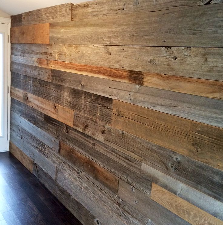 Mixed Brown And Grey Reclaimed Barn Board Feature Wall By
