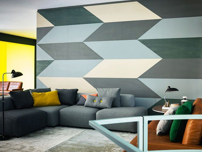 Geometric Wall Blue And Grey Design Art Shapes Home
