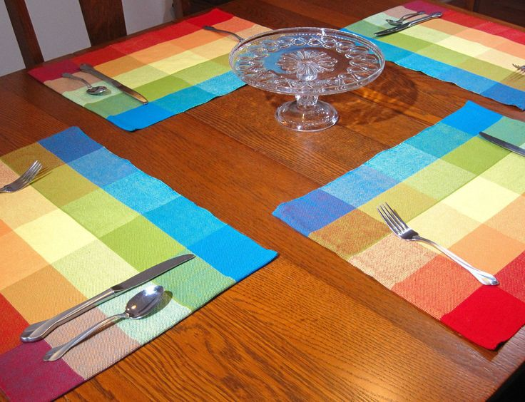 Hand Woven Fiesta Placemats Woven Red, Blue, Yellow, Orange and Lime Placemats 4 Plaid Placemats 2 Woven Placemats Woven Tropical Placemats by hobbymakers on Etsy