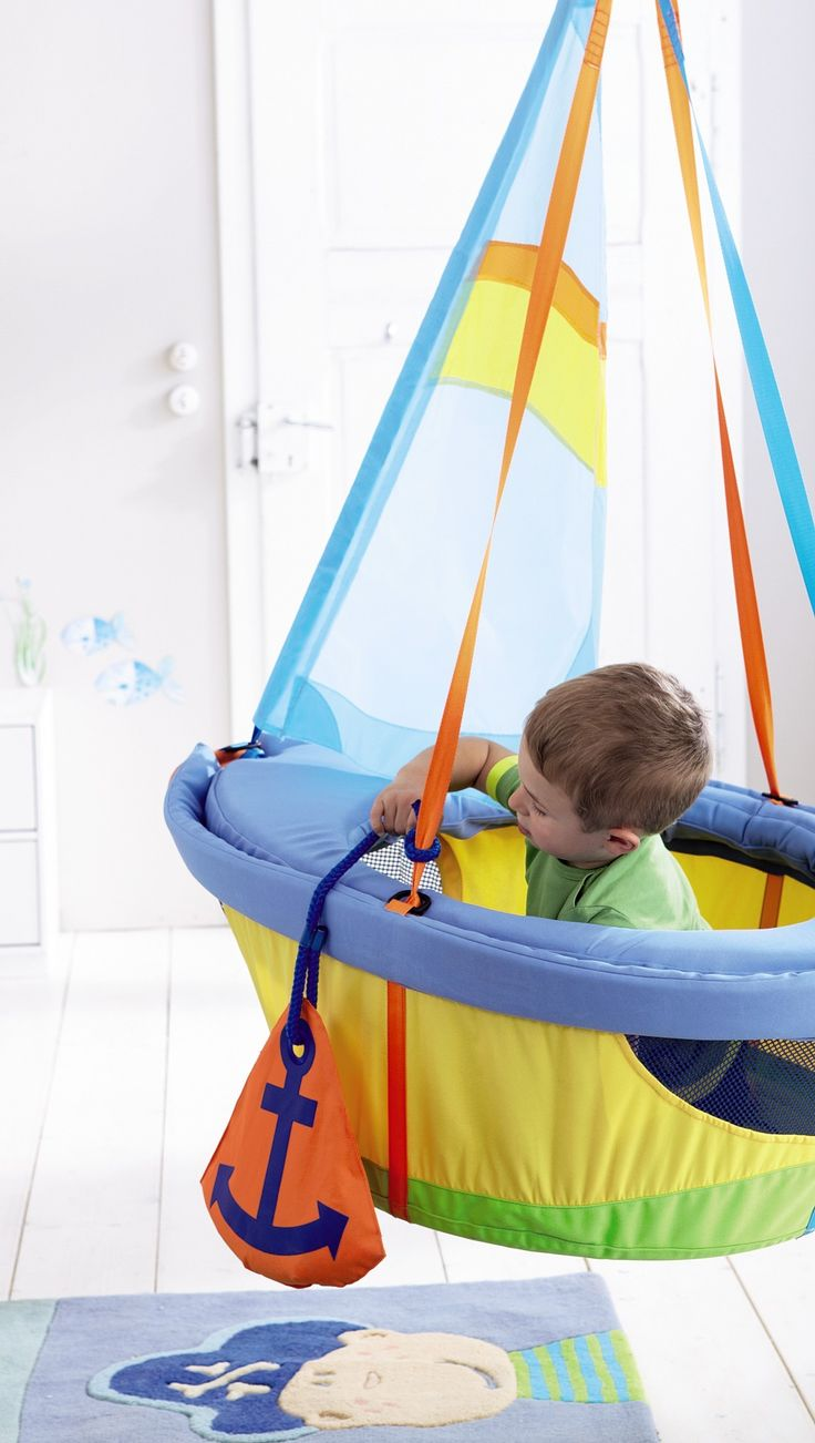Not gonna lie...I really want this for me. It holds up to 176 lbs; I'm good.  Swing Ship Ahoy Indoor Play Swing | HABA USA