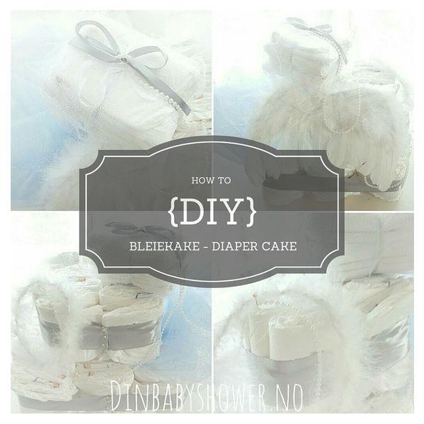 How to make å heaven - angel diaper cake, step by step. Bleiekake fra @dinbabyshower, www.dinbabyshower.no, www.dinbabyshower.weebly.com
