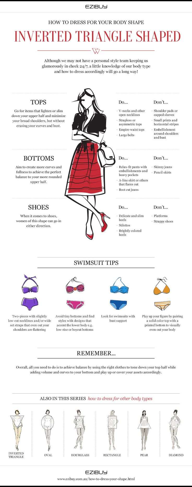 Understand how to Dress Your Inverted Triangle Body Shape http://www.ezibuy.com.au/how-to-dress-your-shape      or to decide your body type visit http://www.style-yourself-confident.com/what-is-my-body-type.html    #body type #inverted triangle
