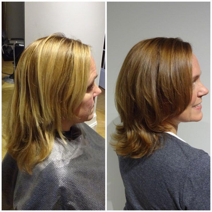 Från blekt hår till en gyllenbrun glänsande hårfärg