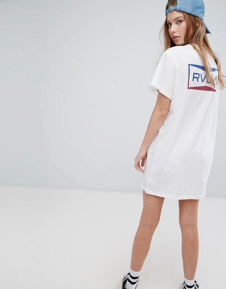 RVCA Oversized T-Shirt Dress With Box Print - White