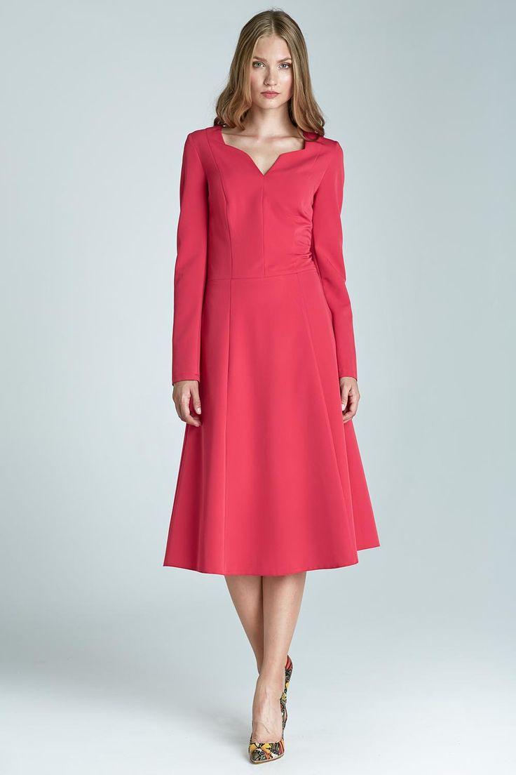 Pink Dovey Neckline A-line Chic Dress