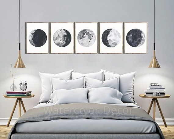 Phases de la lune estampes aquarelle - lot de 5 tirages de Phases lunaires - lune graphique affiches - Mancave Decor cadeau geek