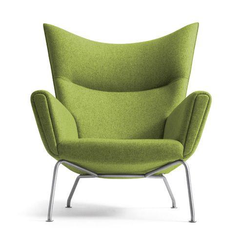 Hans Wegner wing chair, in Divina Melange, a Kvadrat textile designed by Finn Sködt