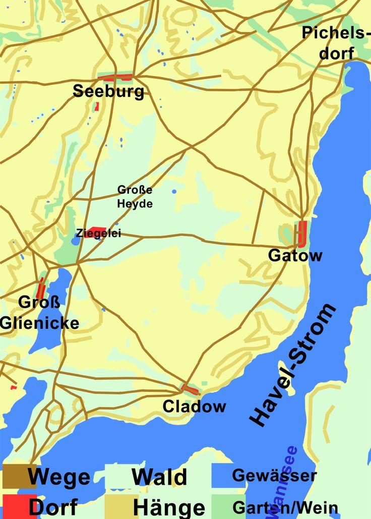 Das Wegesystem zwischen Gatow, Cladow, Groß Glienicke, Seeburg und Pichelsdorf um die Jahre 1770 bis 1790.