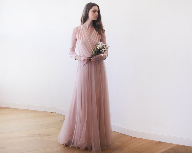 Pink maxi tulle gown with long sleeves , Pink bridesmaids maxi gown by BLUSHFASHION on Etsy https://www.etsy.com/listing/253816578/pink-maxi-tulle-gown-with-long-sleeves