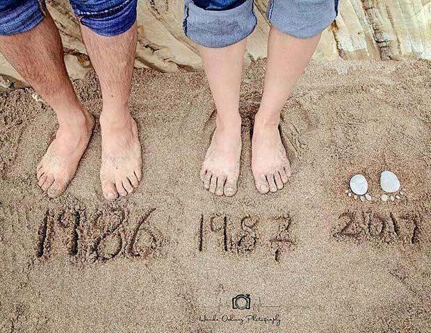 Eine Babymitteilung für eine Mutter und ein Vati, die ein wenig Strand und Sand w hinzufügen möchten #babymitteilung #hinzufugen #mochten #mutter
