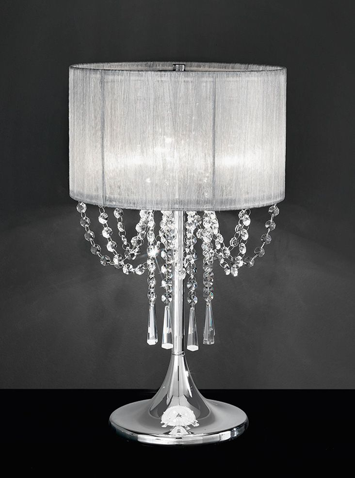 Tl970 Empress Table Lamp Chrome Crystal With A Fabric Shade Finish Drape Of Gl Drops Hangin
