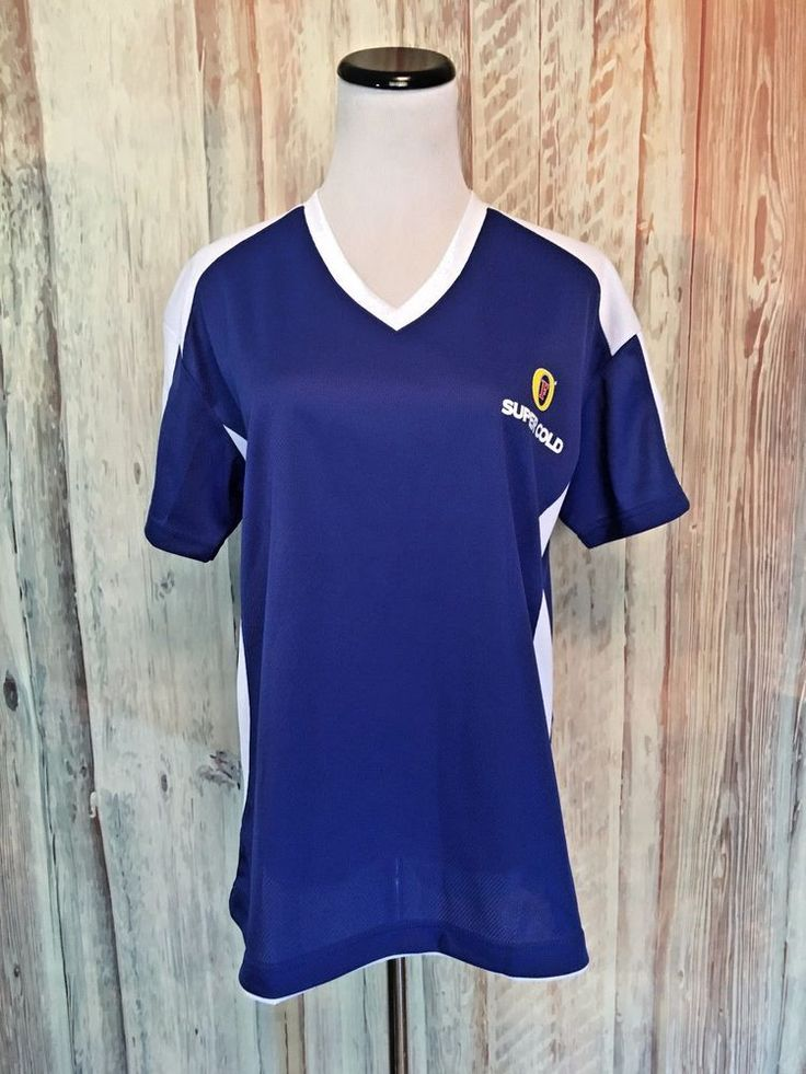 Women's Fosters Beer Lager Jersey Tee Shirt Mesh V Neck Blue White sz L EUC! #Fosters #Vneck #Casual