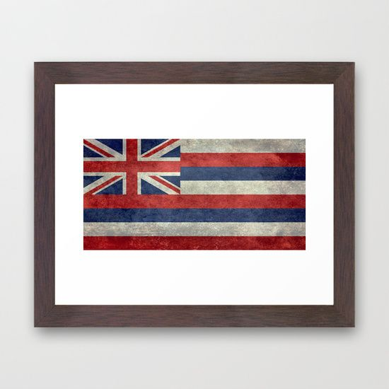 The State flag of Hawaii - Vintage version Framed Art Print  #Hawaii #flag #Hawaiianflag #vintage #retro
