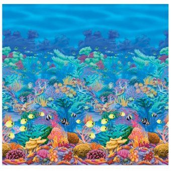 Coral Reef Scene Setter Room Roll Beach Party Ideas