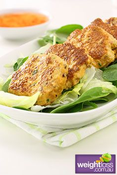 Healthy Fish Recipes: Thai Fish Cakes. #HealthyRecipes #DietRecipes #WeightlossRecipes weightloss.com.au
