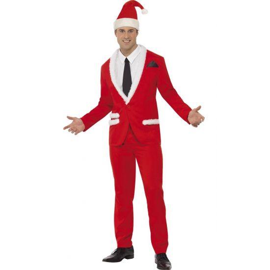 Rood kerst pak voor heren. Rood kerst kostuum voor heren bestaande uit jasje, broek, muts, half shirt en das. Kerst kostuums